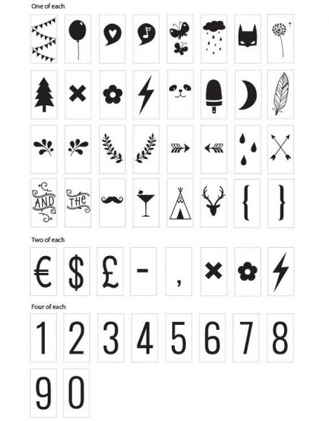 Buchstabenset Lightbox Zahlen & Symbole
