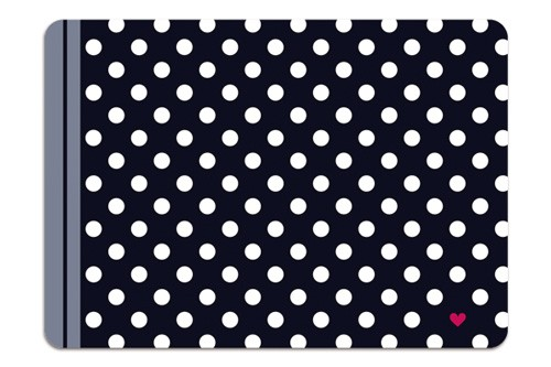 Minipunkt Postkarte schwarz mit weißen Punkten