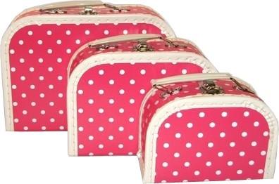 Spielkoffer pink mit weißen Punkten
