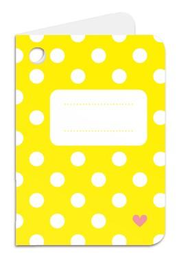 Minipunkt Geschenkanhänger gelb mit weißen Punkten und Namensfeld