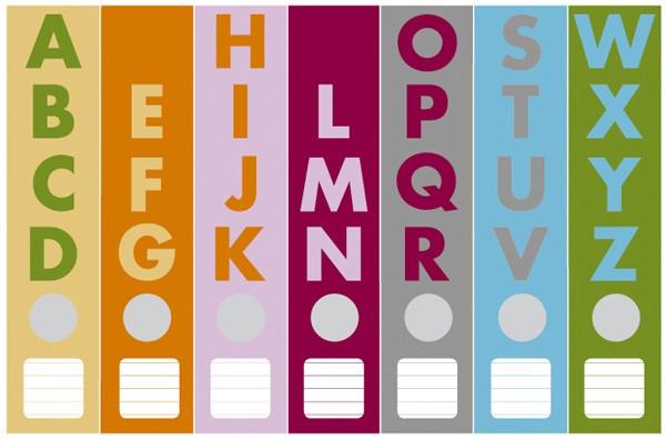 Cedon - Ordnerrücken Alphabet multicolour