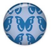 Minipunkt Button Schmetterling Sunna blau