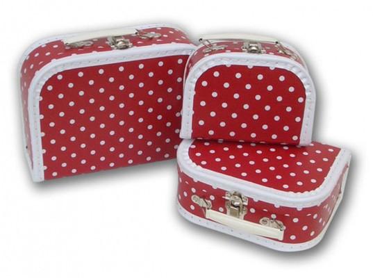 Spielkoffer rot mit weißen Punkten