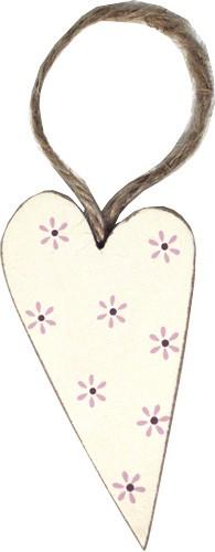 Madleys - Herzanhänger mittel weiss Blumen