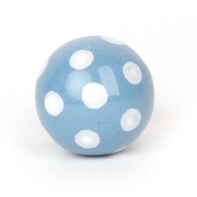 Kugelknopf hellblau mit Punkten