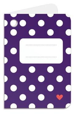 Minipunkt Geschenkanhänger lila mit weißen Punkten und Namensfeld