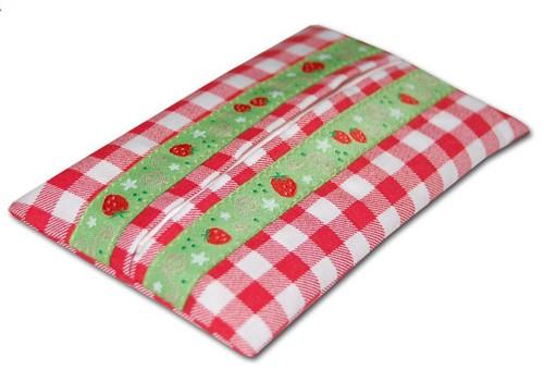Taschentüchertasche Erdbeere Karo rot
