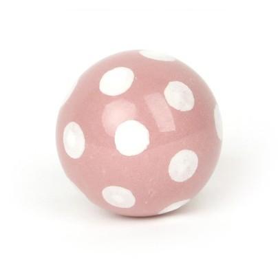 Kugelknopf rosa mit Punkten