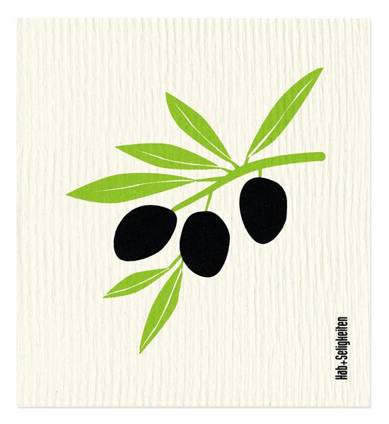 Hab + Seligkeiten Schwammtuch Oliven