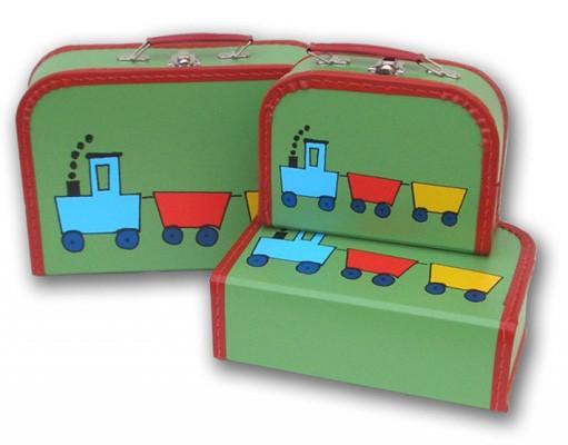 Spielkoffer grün mit einer Eisenbahn