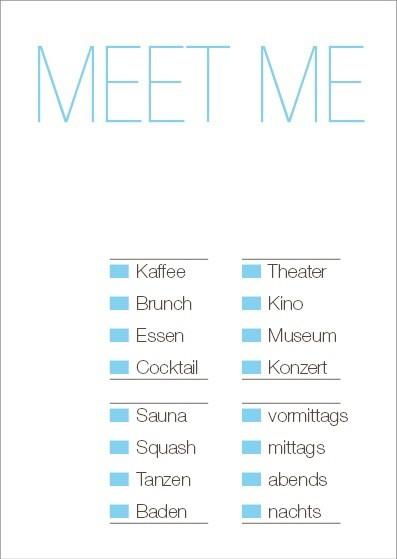 Postkarte Meet Me