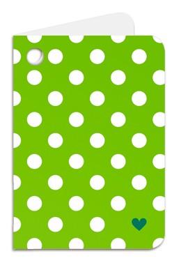 Minipunkt Geschenkanhänger grün mit weißen Punkten