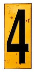 Schild Zahl 4