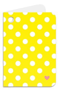 Minipunkt Geschenkanhänger gelb mit weißen Punkten