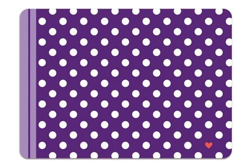 Minipunkt Postkarte lila mit weißen Punkten