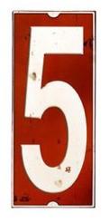 Schild Zahl 5