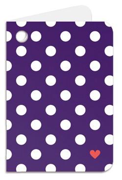 Minipunkt Geschenkanhänger lila mit weißen Punkten