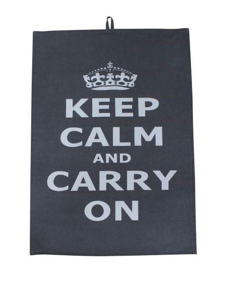 Geschirrtuch Keep Calm grau