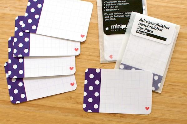 Minipunkt Adressaufkleber lila/weiß Punkte