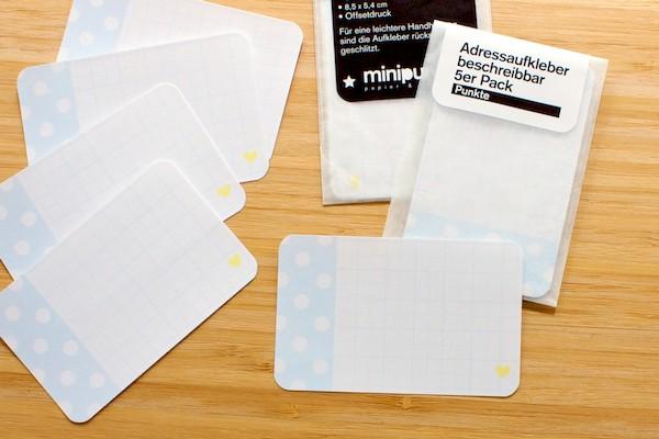 Minipunkt Adressaufkleber hellblau/weiß Punkte